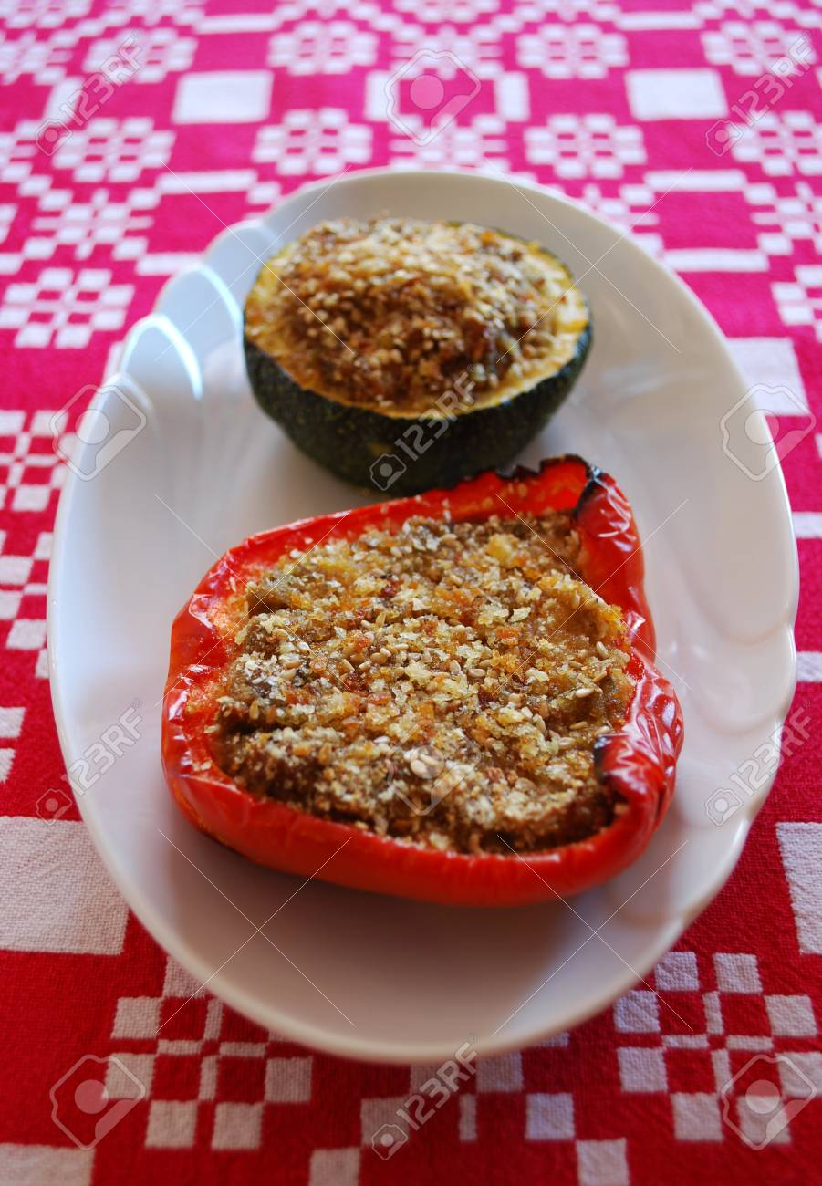 Baked stuffed peppers and zucchini filled with minced tofu with herbs Stock Photo - 13233960