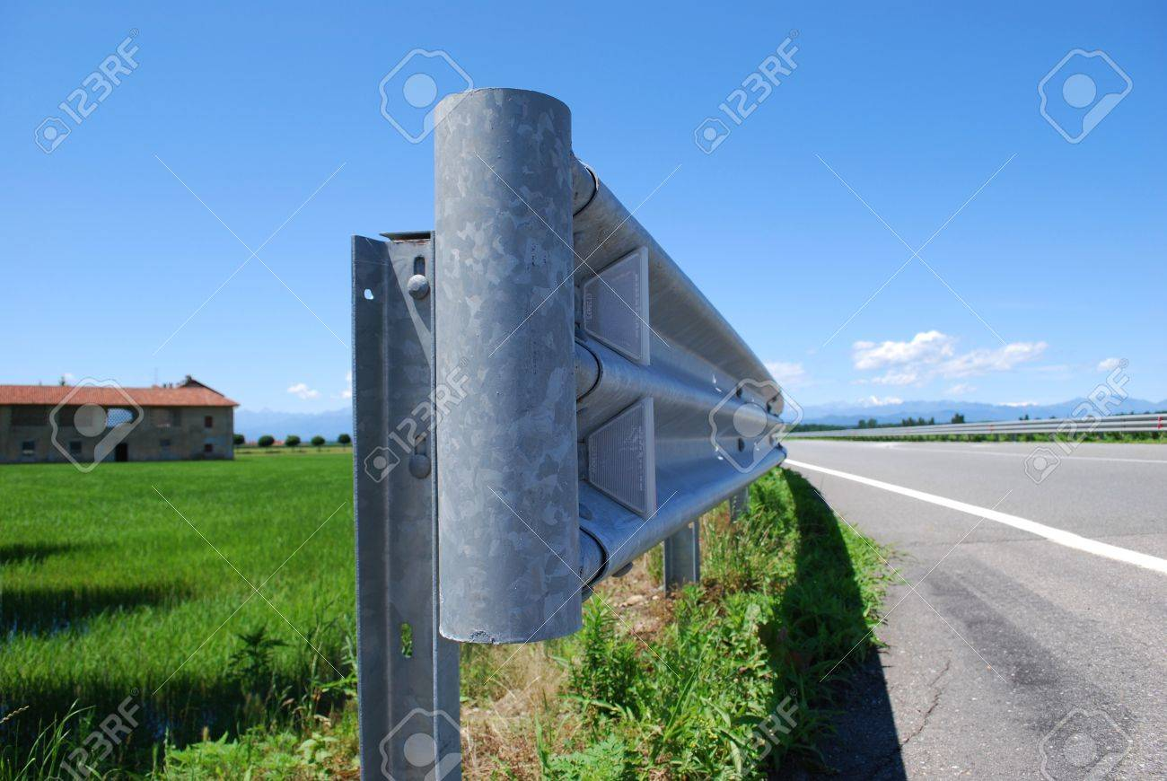 Close up of guard rail on a road in countryside Stock Photo - 13625034