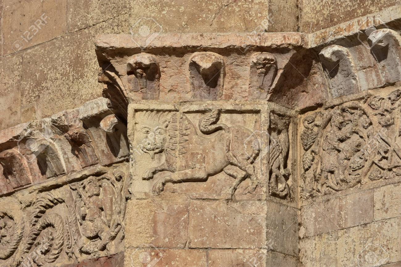 Medieval relief from verona cathedral frieze with animals th