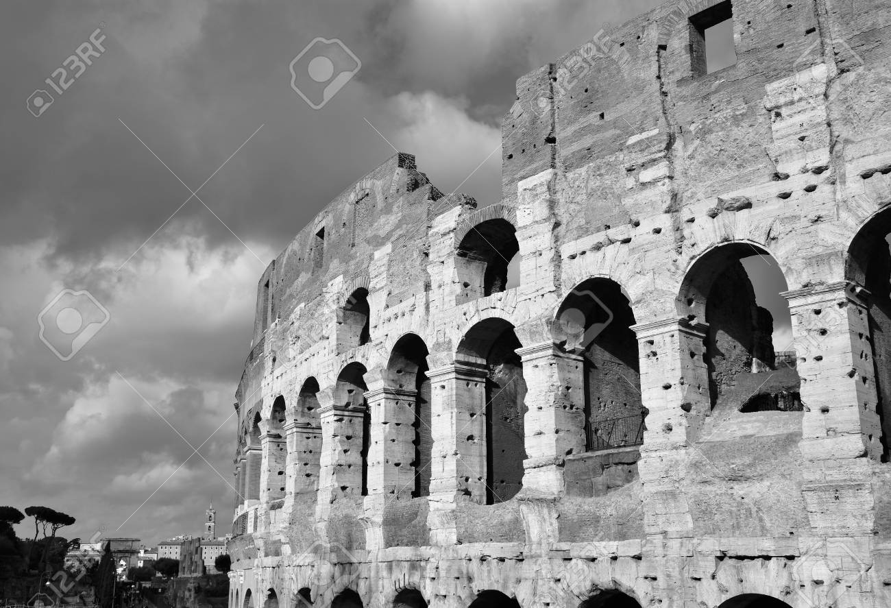 Coliseum monumental arcade with clouds black and white stock photo 75138518