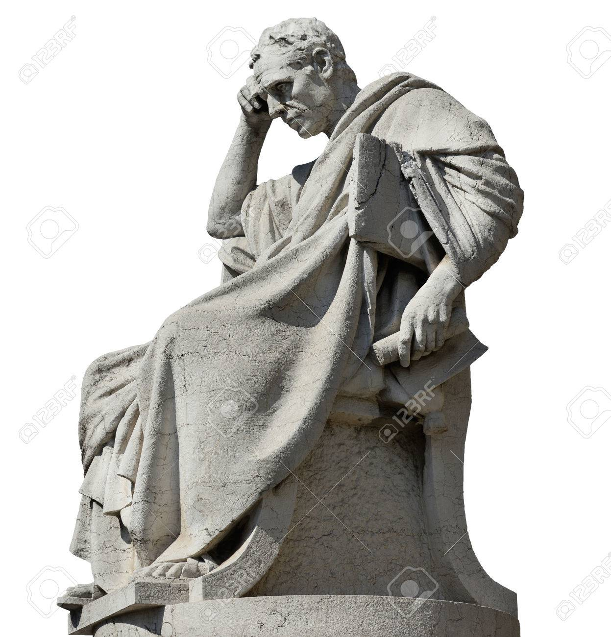 Julian the Jurist in the act of thinking statue, in front of the Old Palace of Justice in Rome (isolated on white background) - 81549098