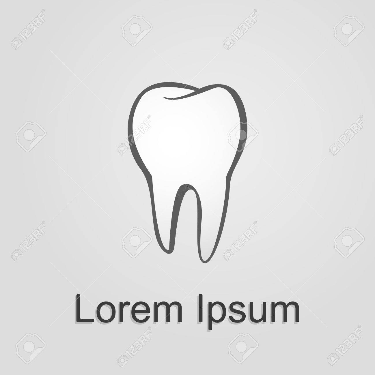 Tooth On A Grey Template Design Element Illustration Stock