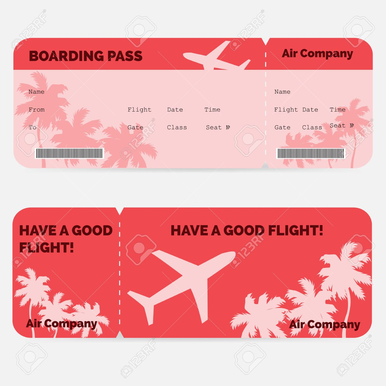 Airline Boarding Pass Red Ticket Isolated On White Background