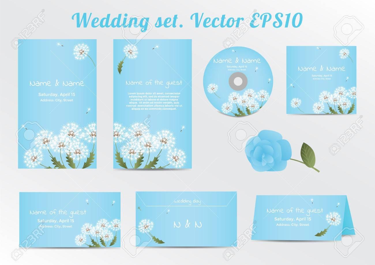 Set Of Floral Wedding Invitation Template With Dandelion Flower Vector Illustration EPS10