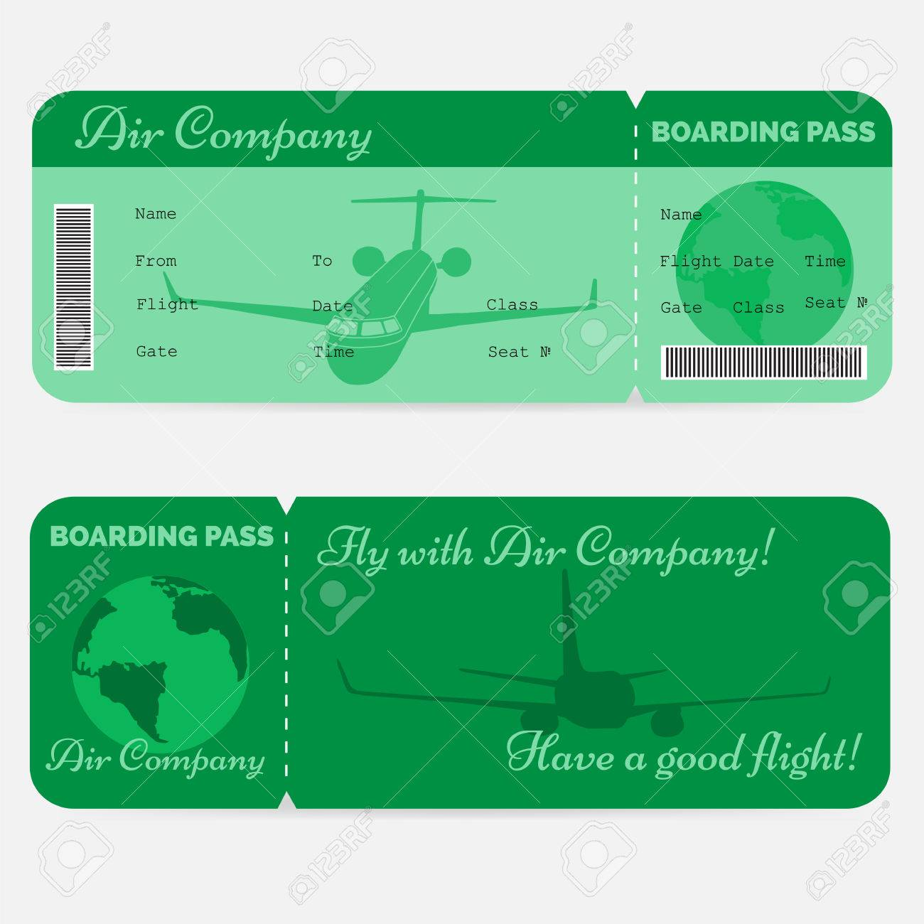Variant Of Airline Boarding Pass Green Ticket Isolated On White