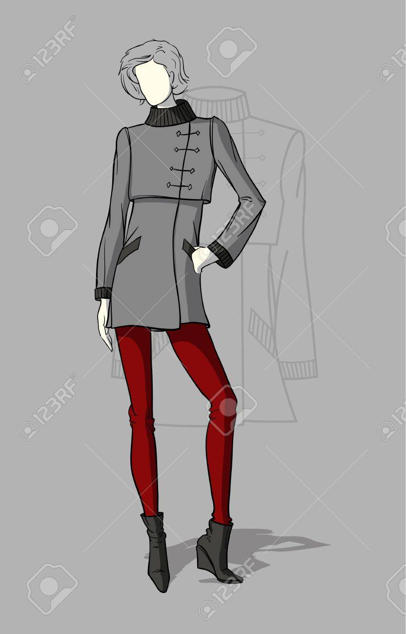 Woman in short grey coat with a technical drawing in the background Stock Vector - 15317056