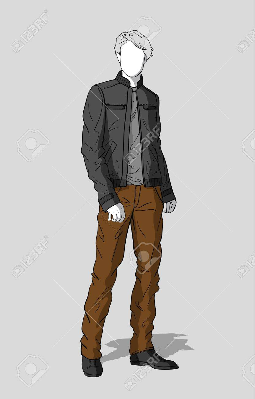 Gray jacket and brown pants for men Stock Vector - 15362086