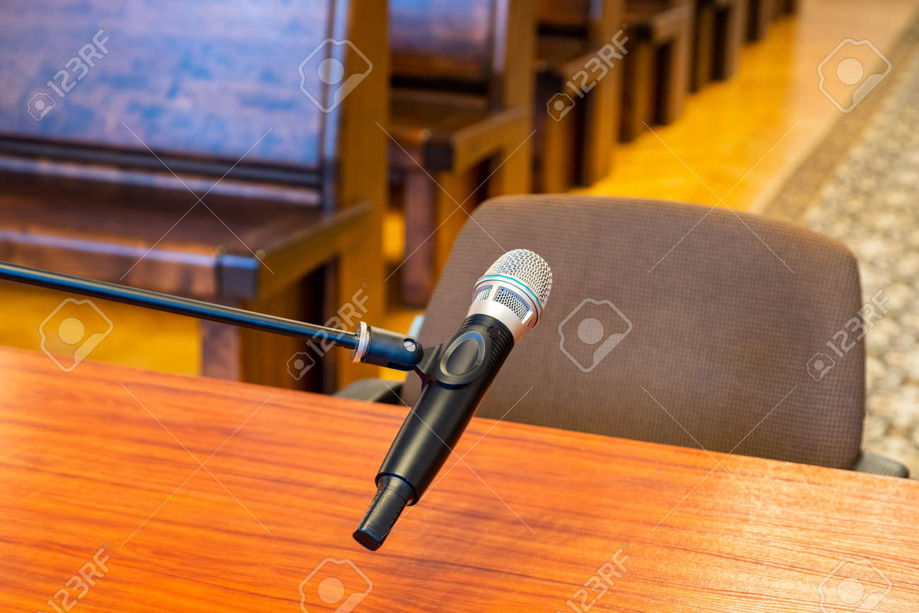 Closeup of microphone in the courthouse. - 163949535