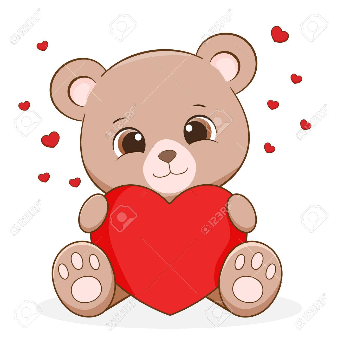 Cute Little Bear Holding Heart - 161247988