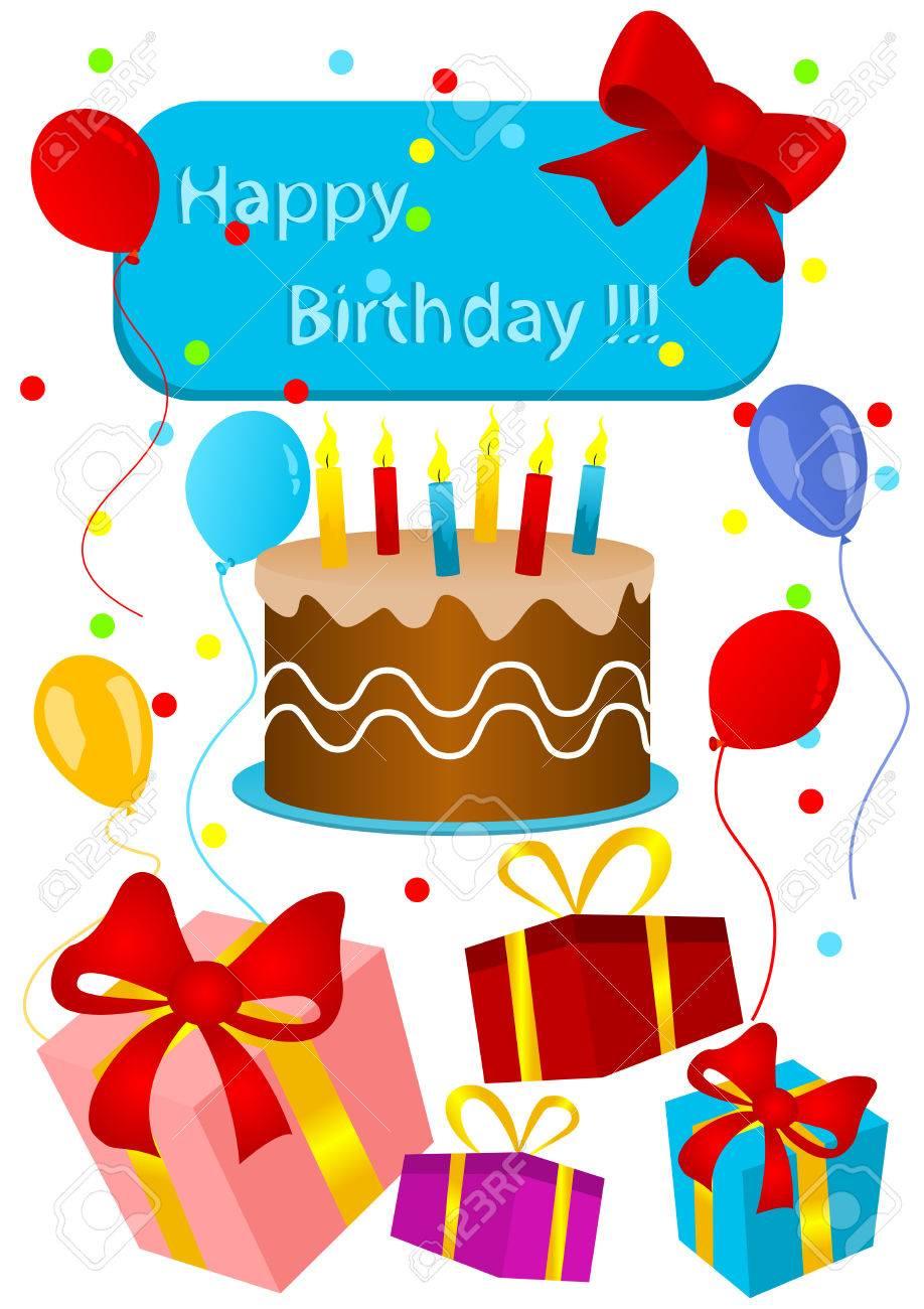Tarjeta De Feliz Cumpleaños Con Torta De Cumpleaños Y Regalos