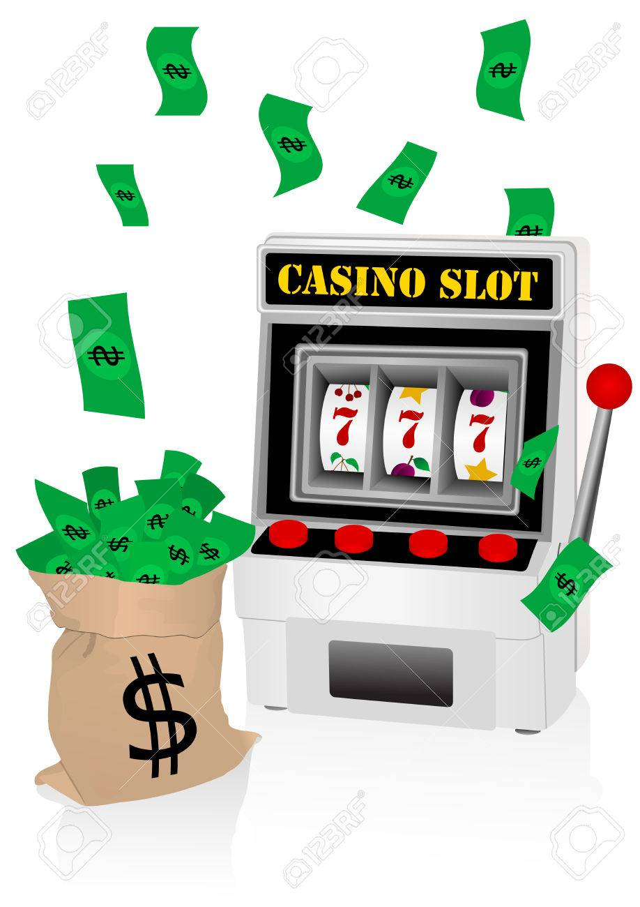 casino illustration with slot machine and money royalty free rh 123rf com slot machine cartoon clip art slot machine handle clip art