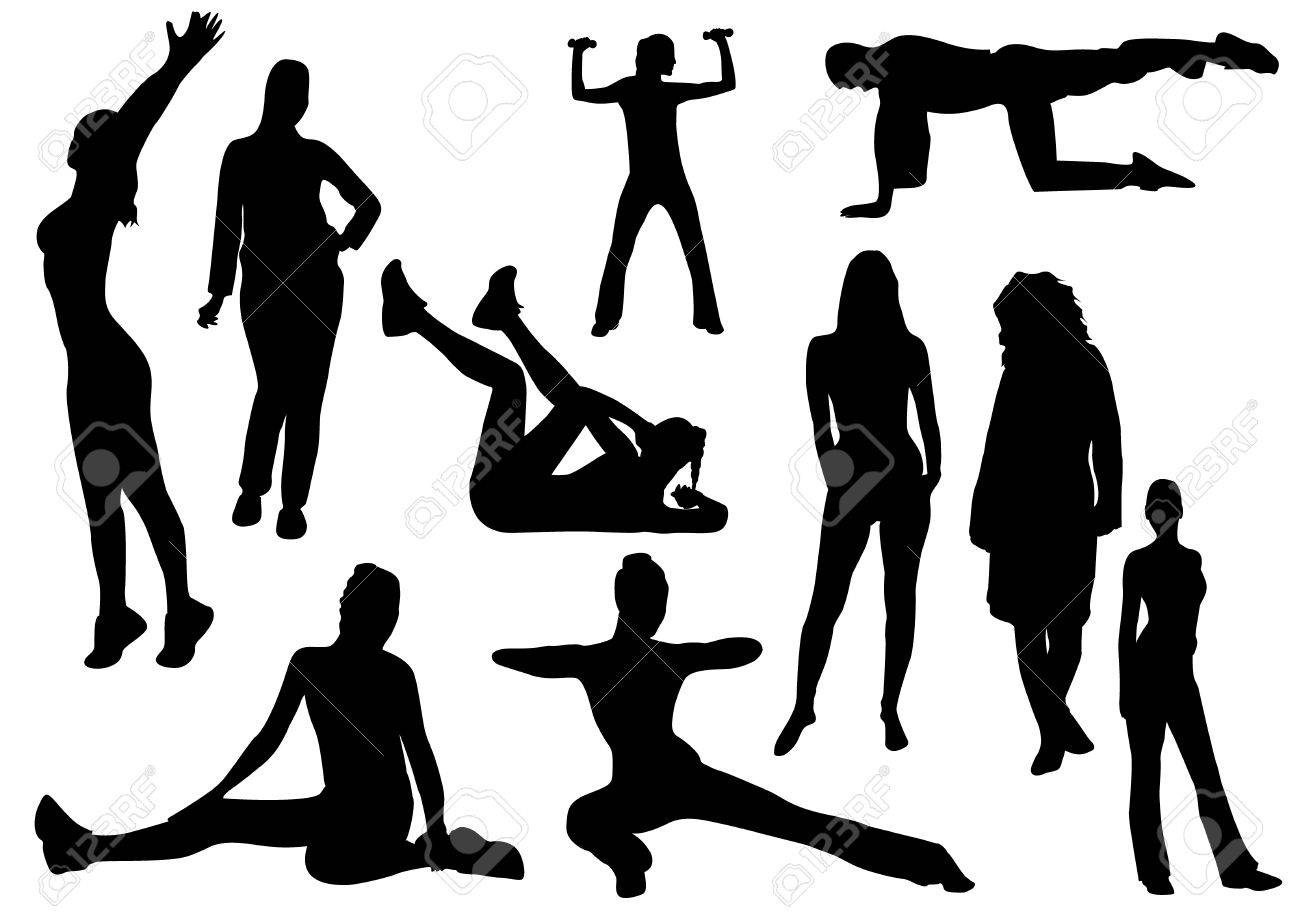 Illustration of some women and a man doing gymnastics - 6446946