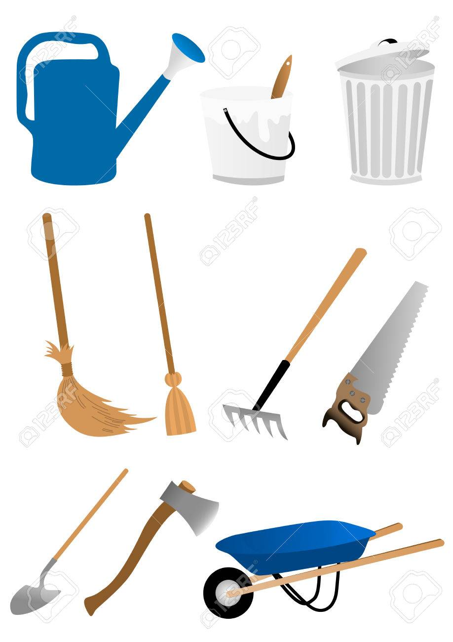 Set of gardening tools isolated on white background Stock Vector - 6446959