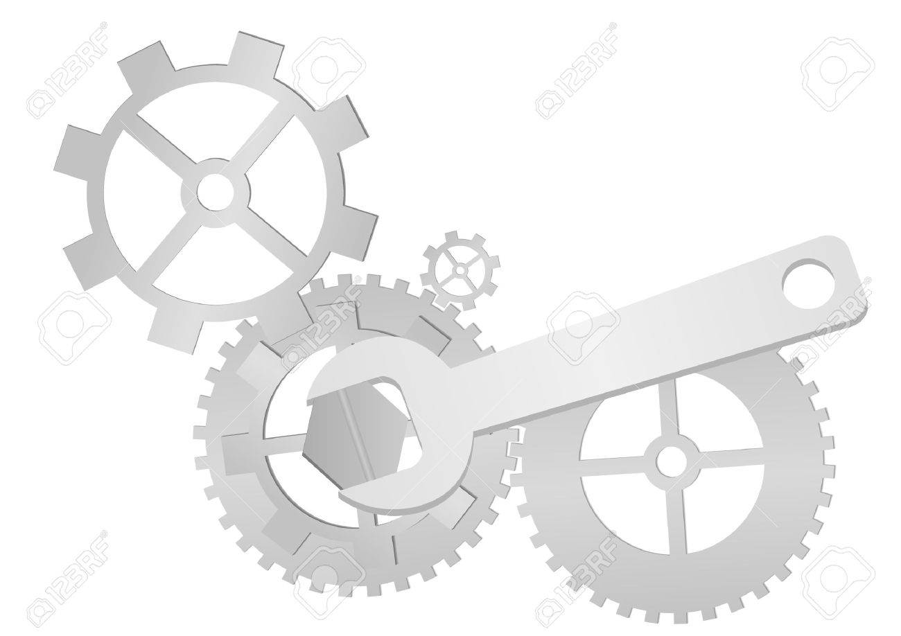 Set of gears and wrench isolated on white background Stock Vector - 6584446