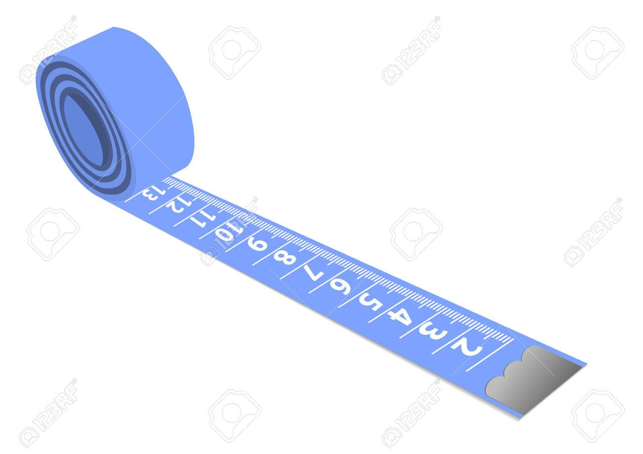 Illustration of a blue measuring tape isolated on white background Stock Vector - 6619956