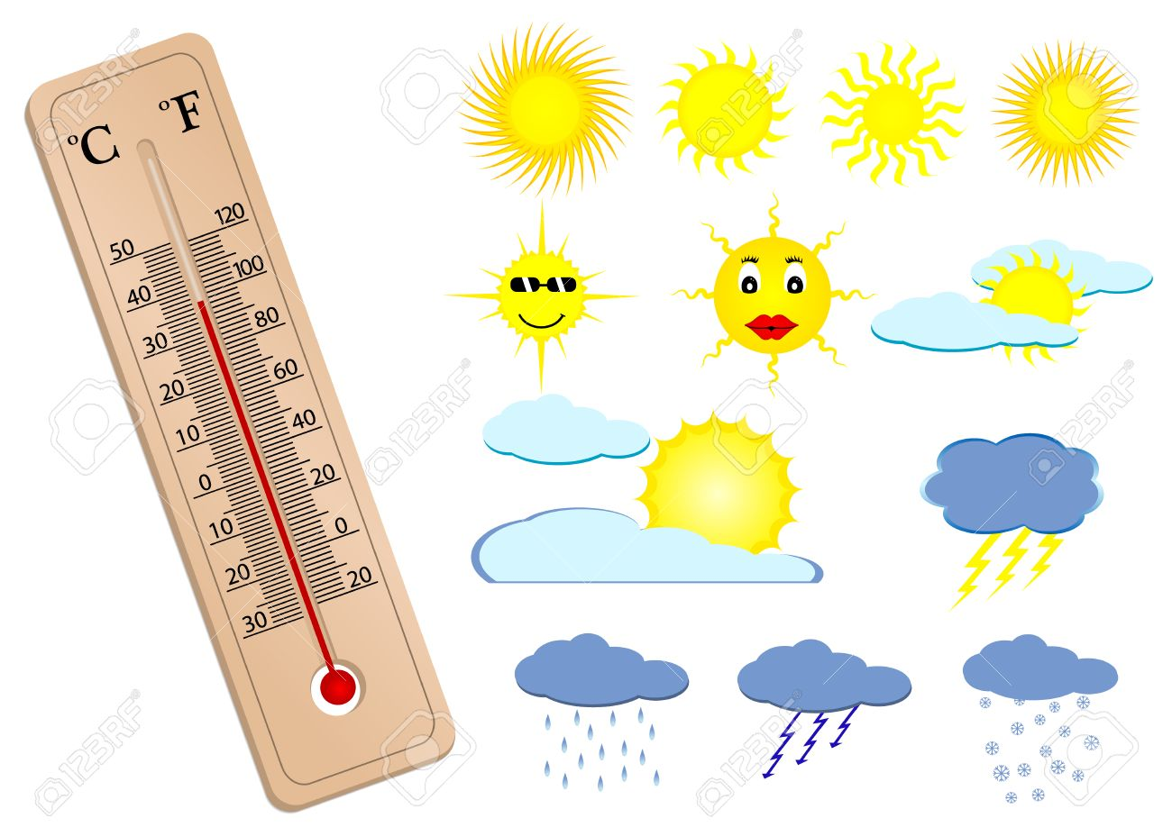 Illustration Of A Thermometer And Some Weather Elements Royalty ...