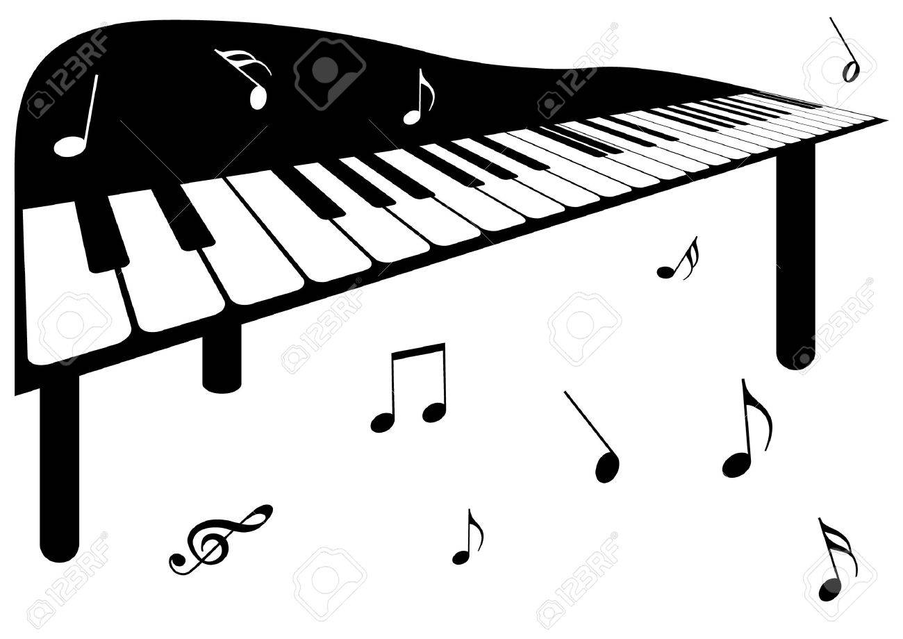 illustration of a piano and music notes royalty free cliparts