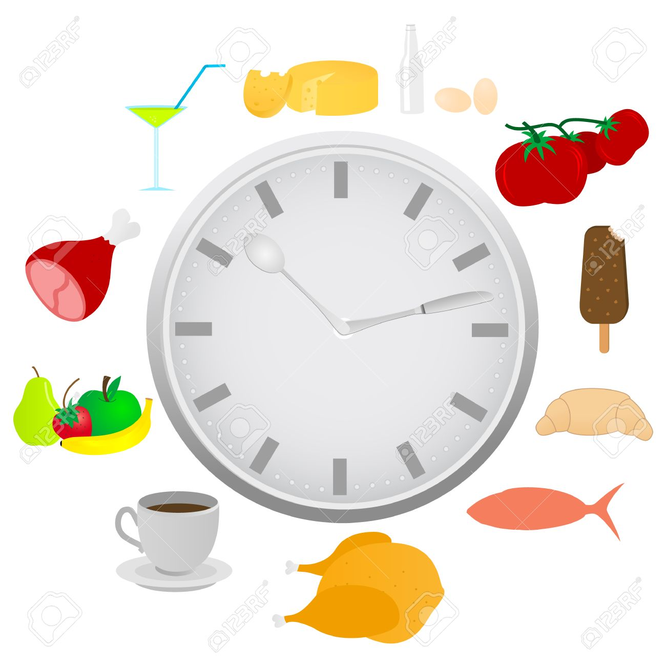 Abstract Detailed Clock With Food And Kitchen Utensils Royalty Free ...