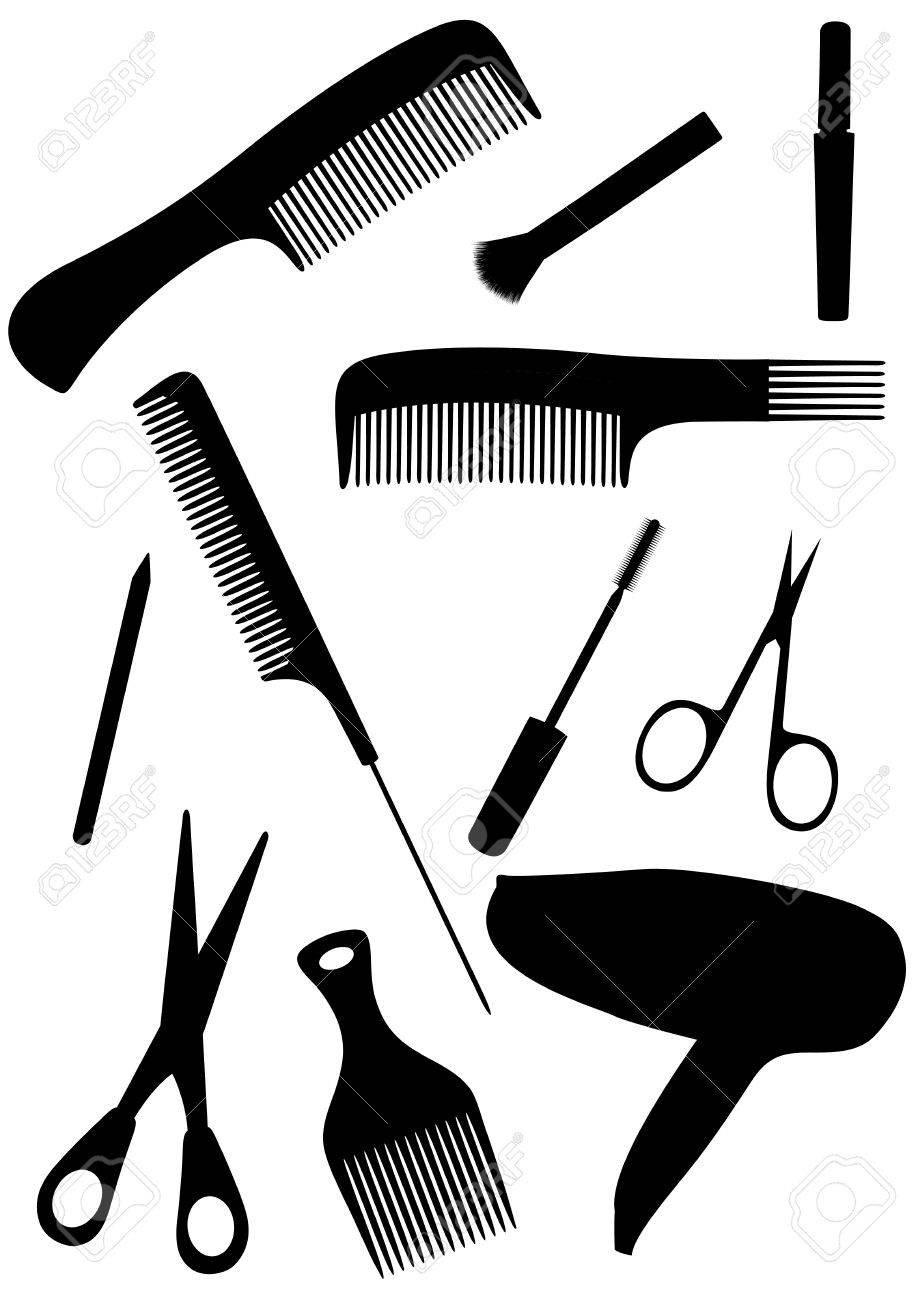 Detailed hair style objects isolated on white background Stock Vector - 6824679
