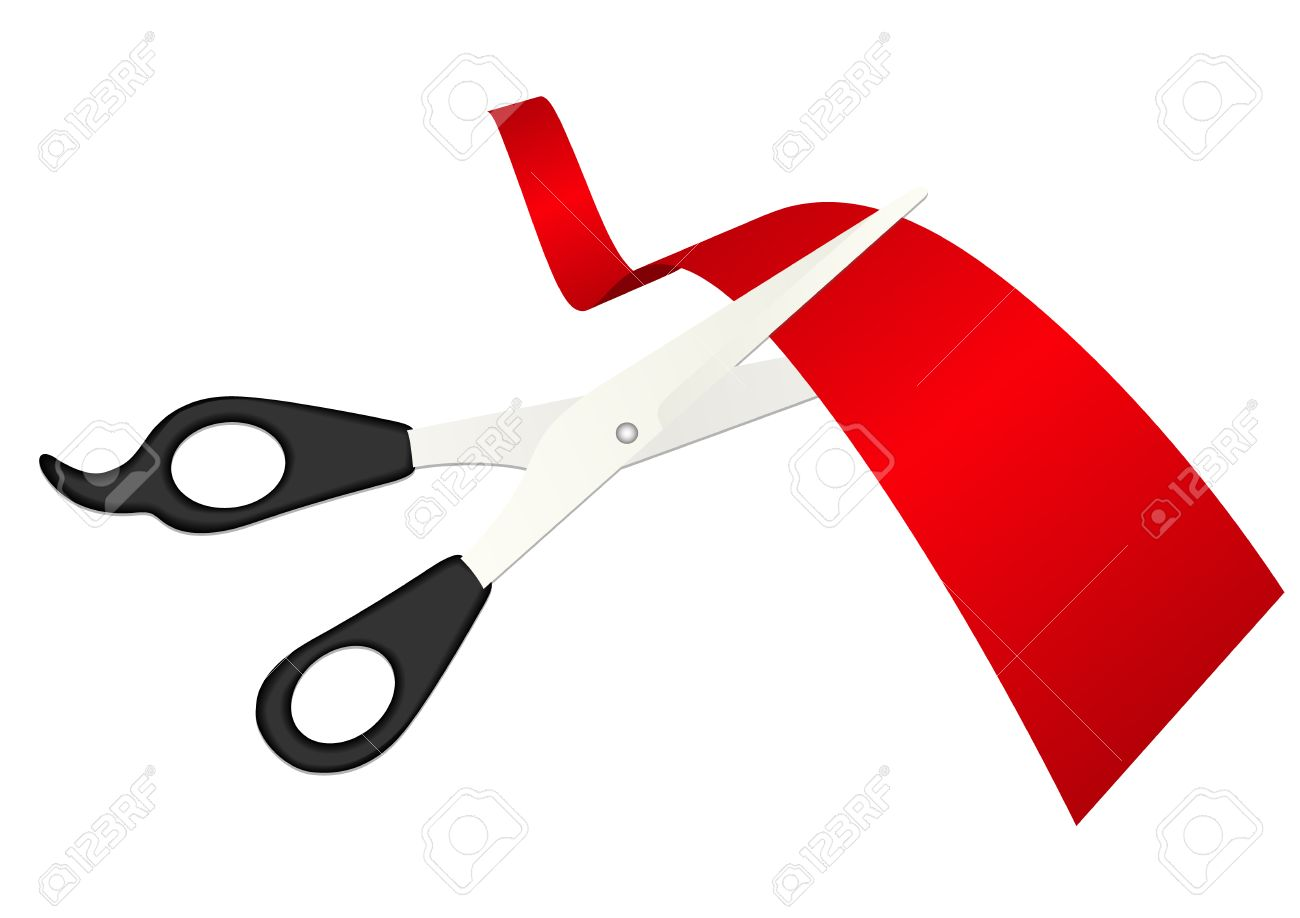Illustration of detailed scissors cutting the ribbon Stock Vector - 6824680