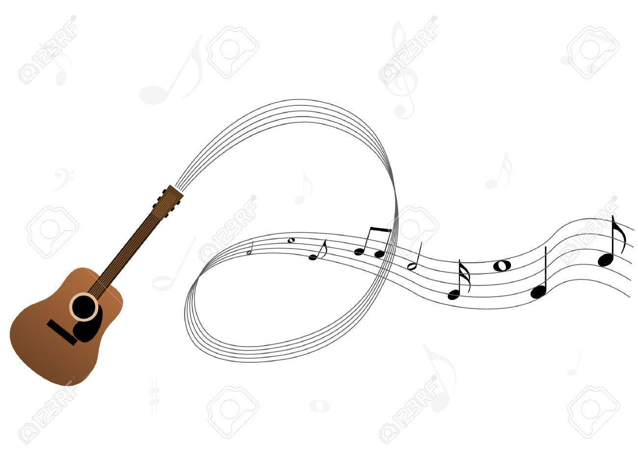 Note Musique Guitare Guitar Stave And Notes