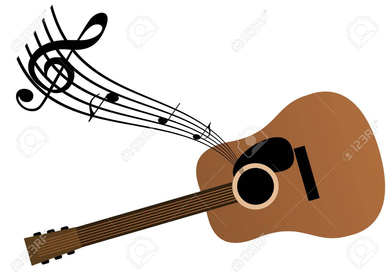 music background with guitar and notes royalty free cliparts rh 123rf com Music Note Clip Art Music Notes SVG