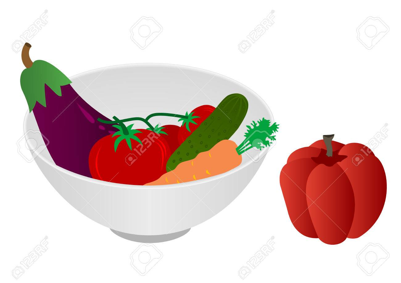 Illustration of a bowl with vegetables Stock Vector - 7198605