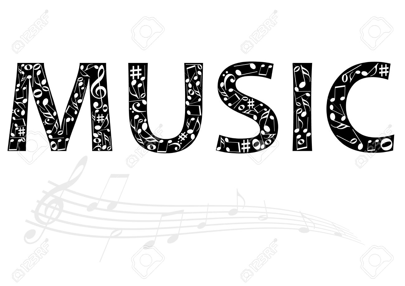 Abstract Illustration Of The Music Word With Music Notes Royalty