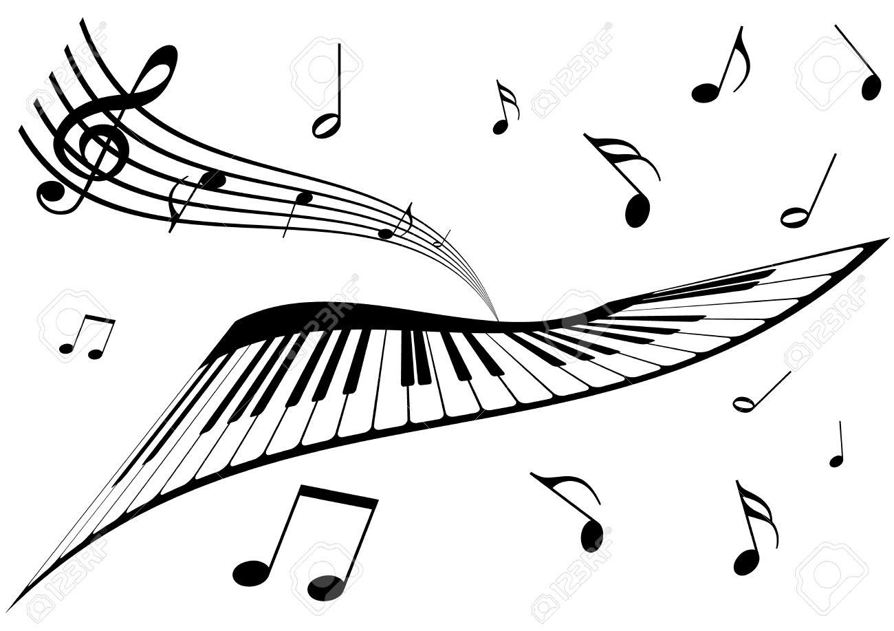 Illustration D Un Piano D Une Portee Et De Notes De Musique Clip
