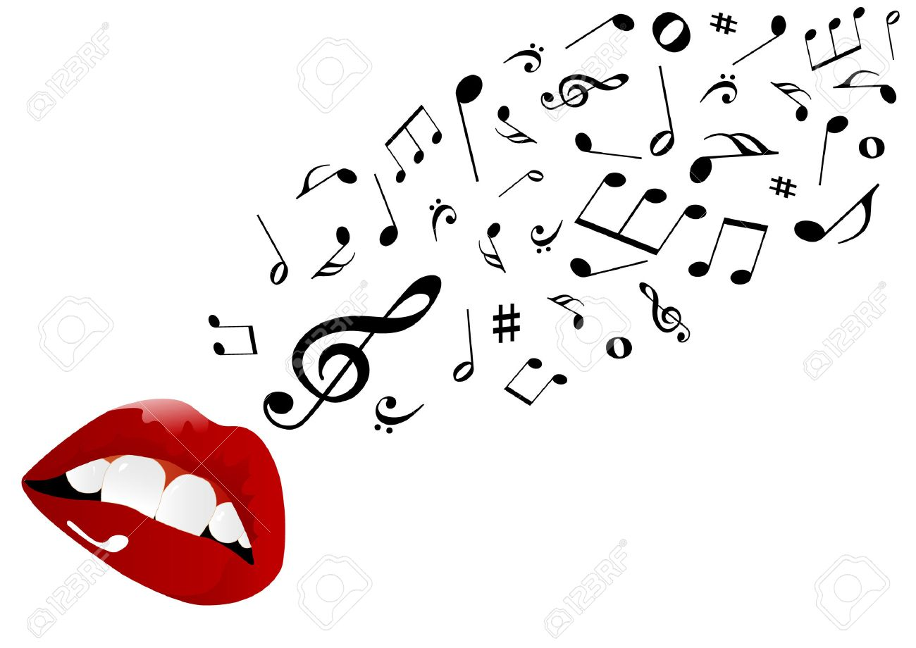 Illustration of red lips singing Stock Vector - 7718450