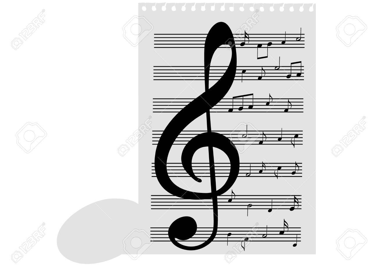 Illustration of a music-sheet and a music note Stock Vector - 7718446