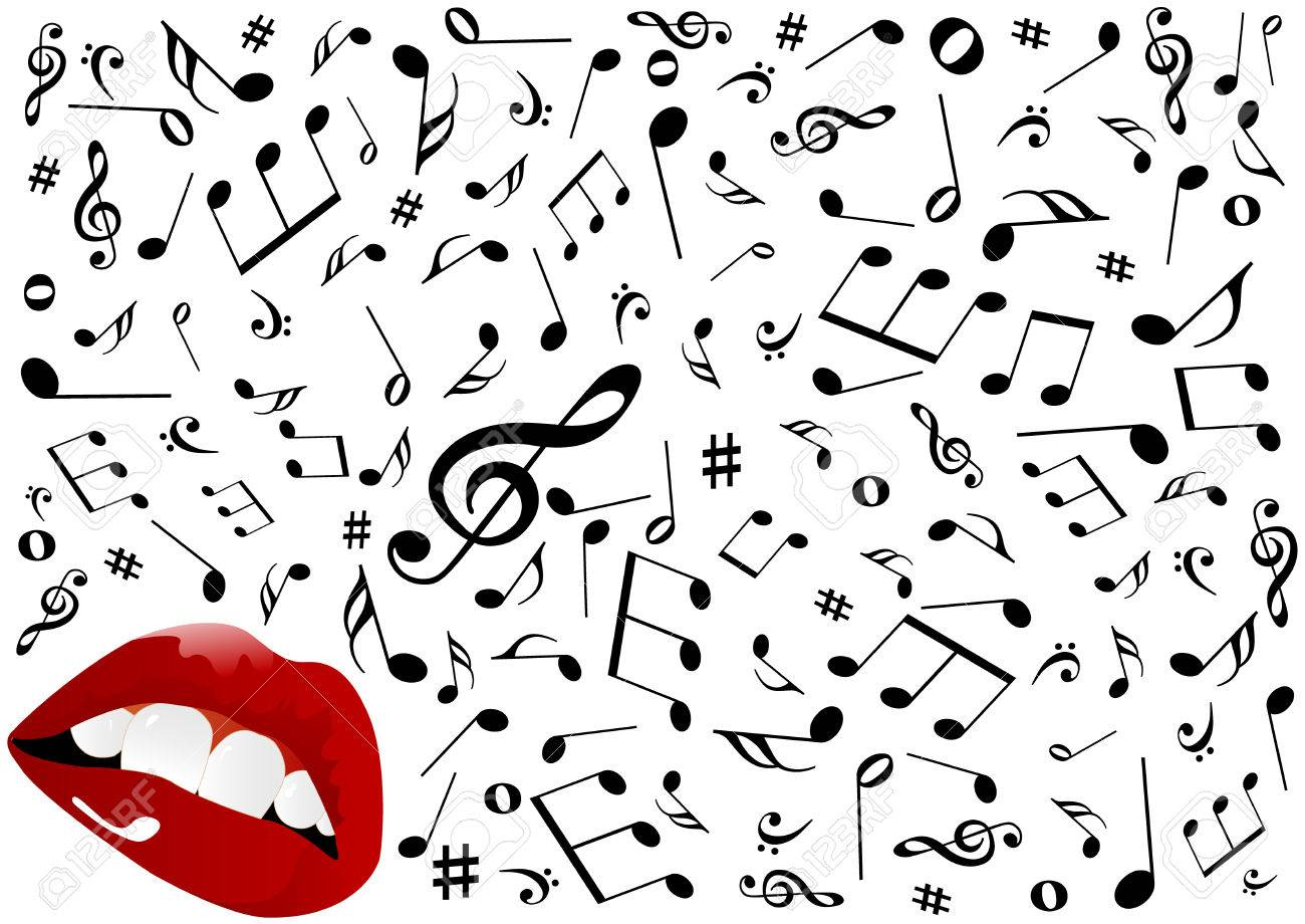 Illustration of red lips singing Stock Vector - 7918383