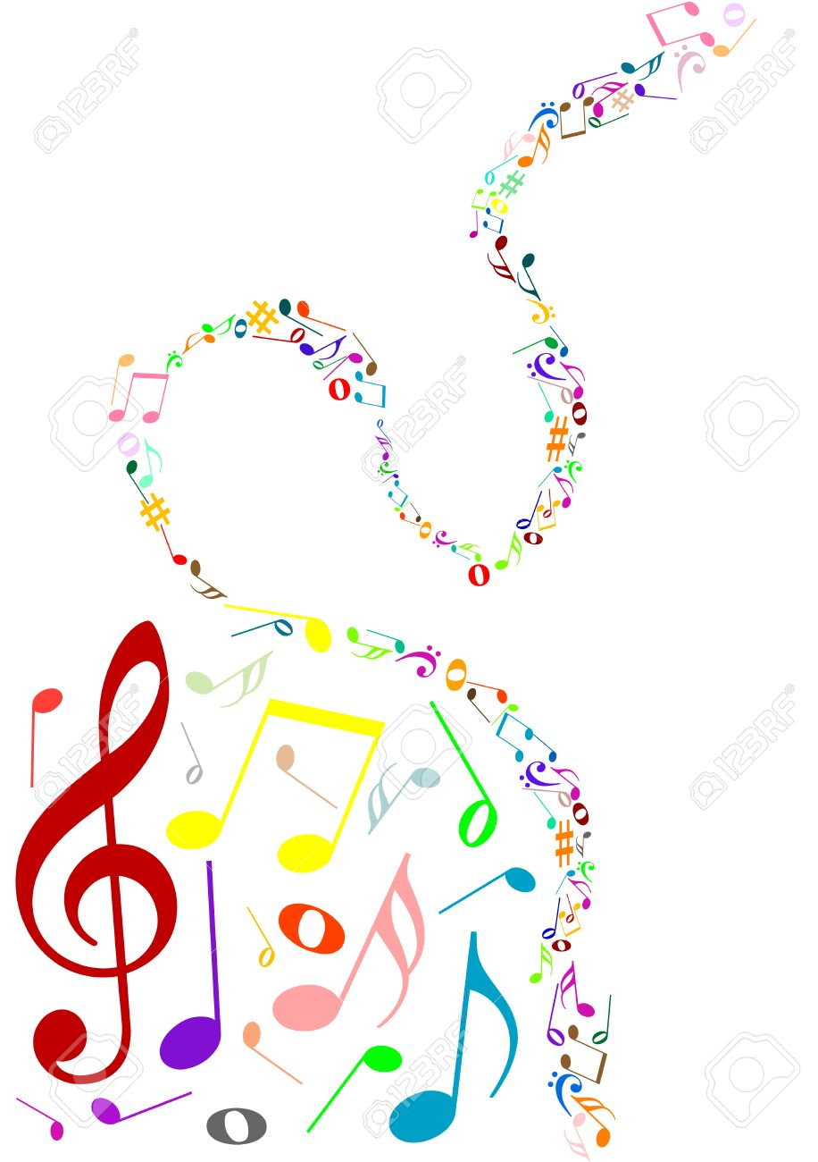 musical background with colored music notes royalty free cliparts