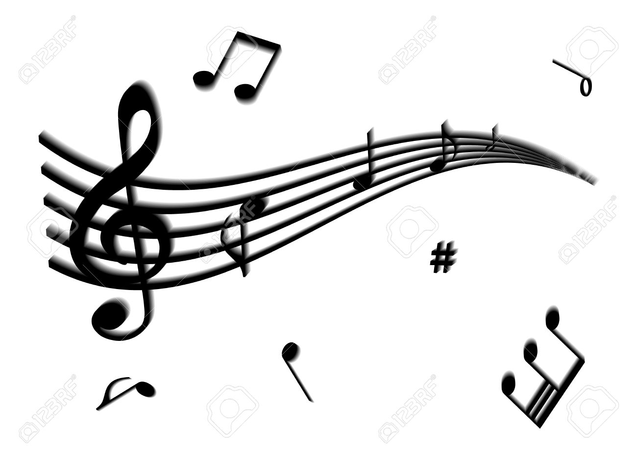 illustration of a stave and some music notes royalty free cliparts