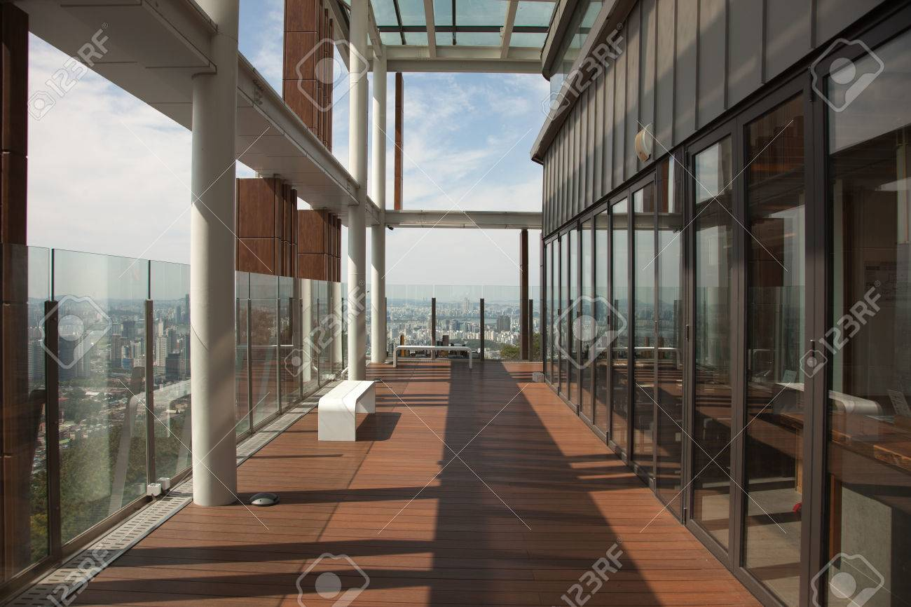 Modern Interiors And Panoramic Views From The N Seoul Tower,.. Stock ...