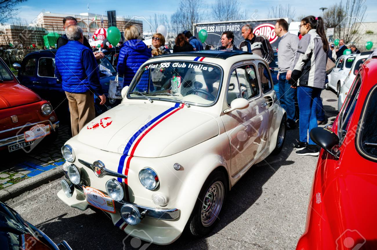 Alba Italy March 19 2017 Old Fiat 500 Abarth During A Classic