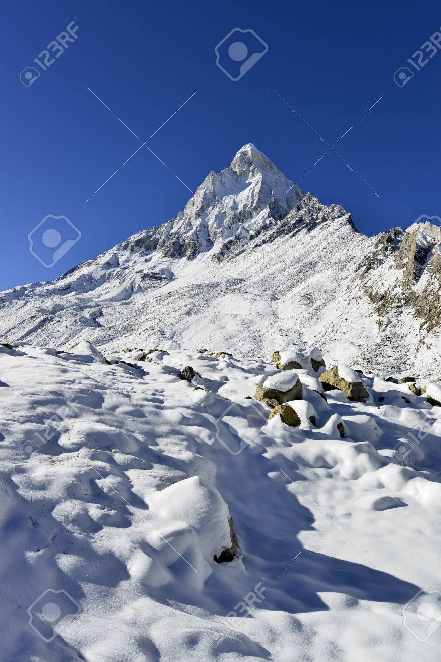 dramatic Mount Shivling in the western Garhwal Himalaya, Uttarakhand,