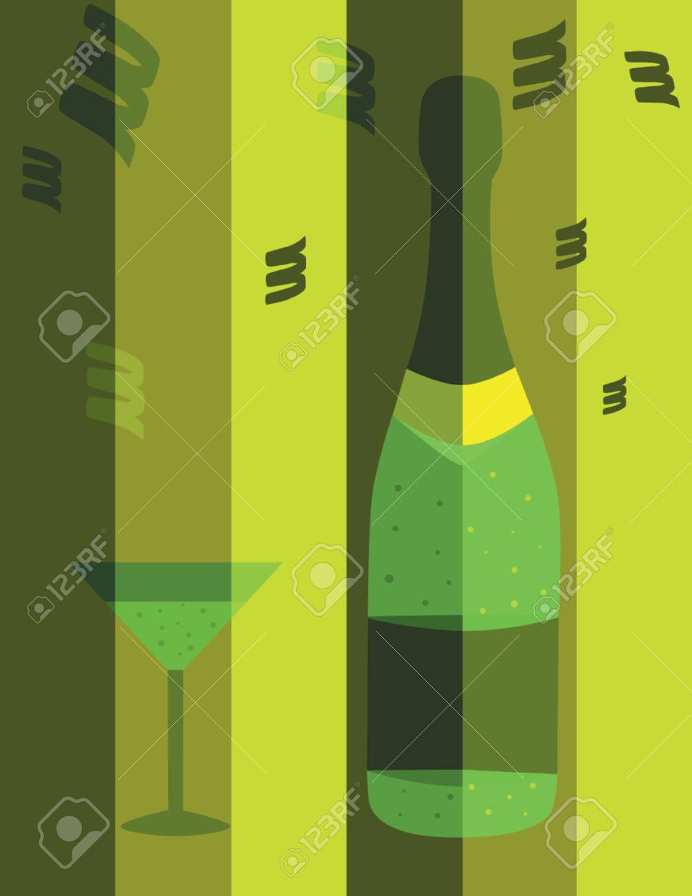 Happy New Year illustration with champagne and glass, vector format Stock Vector - 646114