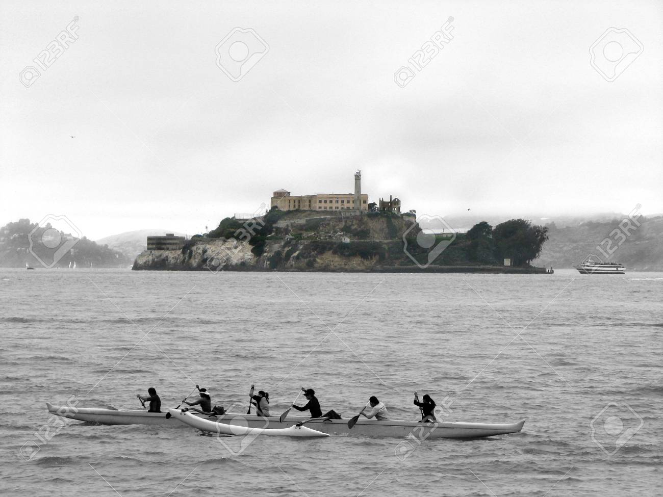 Alcatraz Island with a  kayak in front of it, view from Pier 39 Stock Photo - 1158536