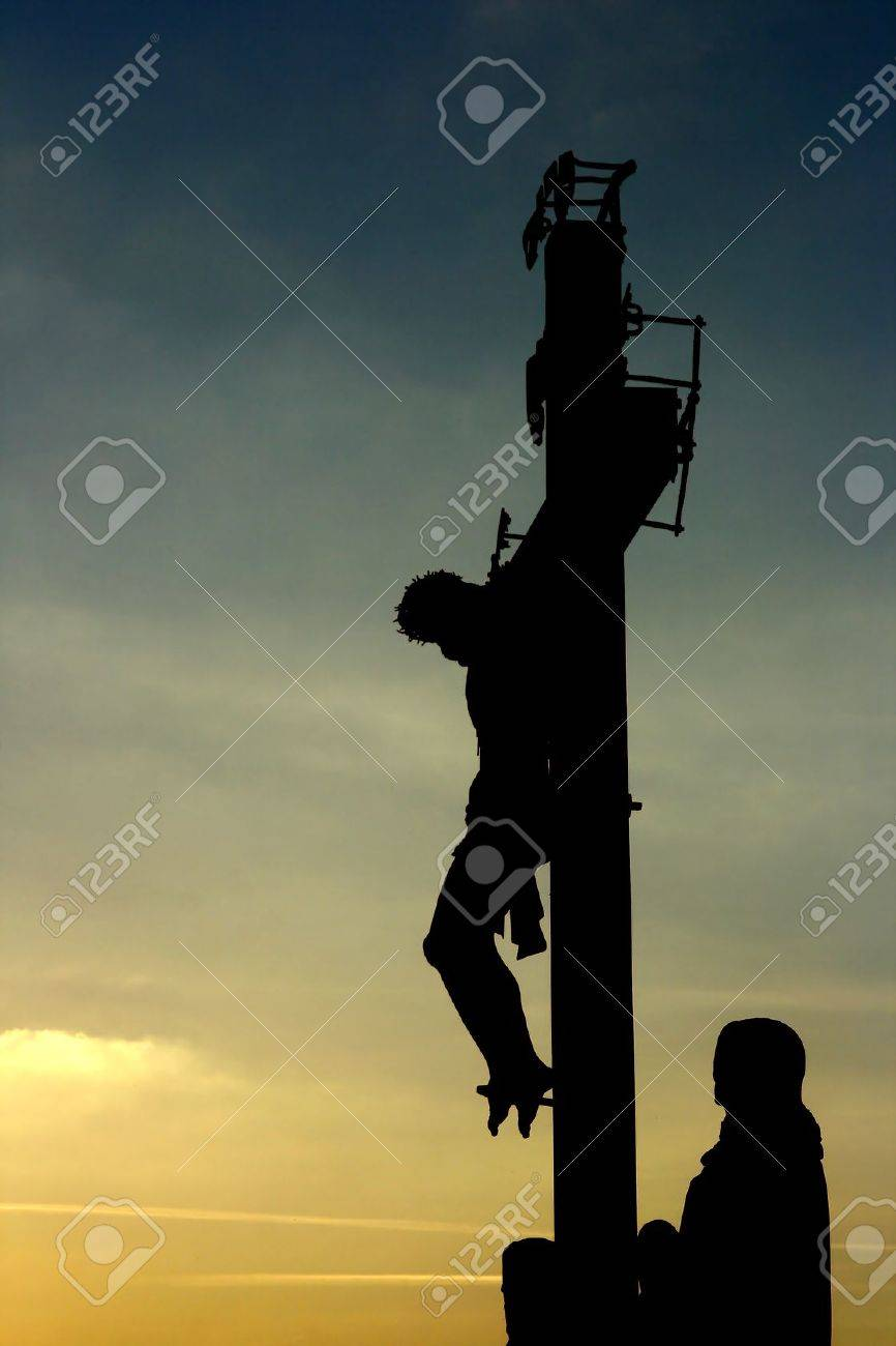 easter concept jesus christ crucified against sunset background