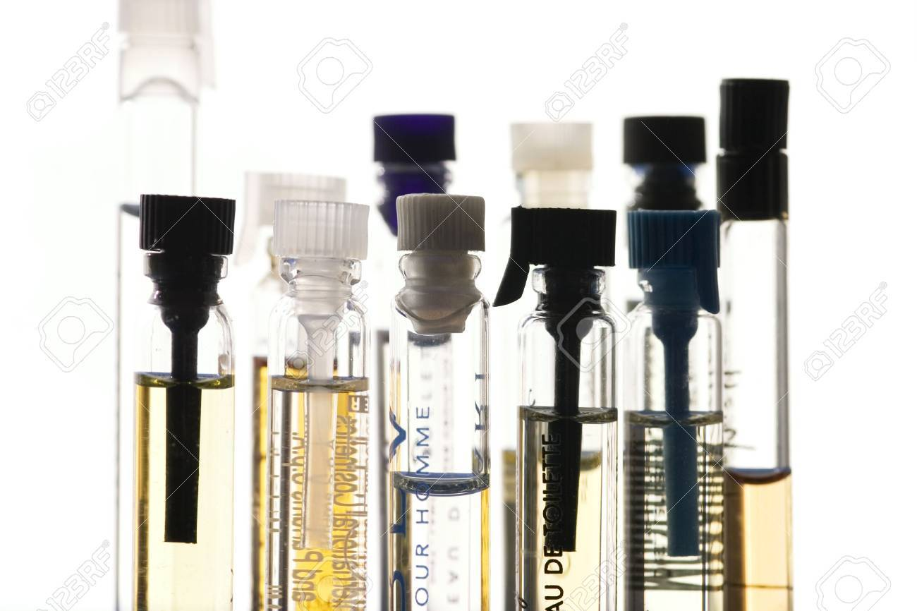 122aac51e Bottles Of Perfume Samples Isolated Stock Photo, Picture And Royalty ...