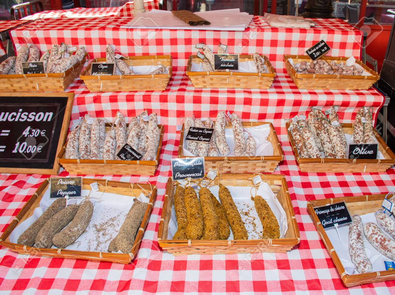 Nice, France, 24th of February 2020: Saucissons for sale meaning sausages for sale in Nice outdoor market - 146635569