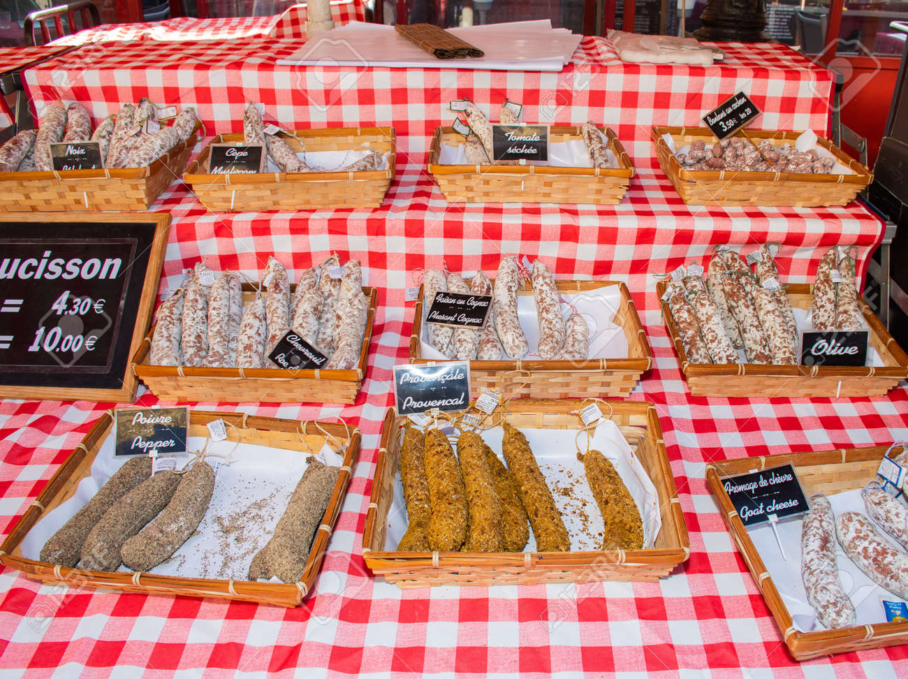 Saucissons for sale meaning sausages for sale in Nice outdoor market - 146941013