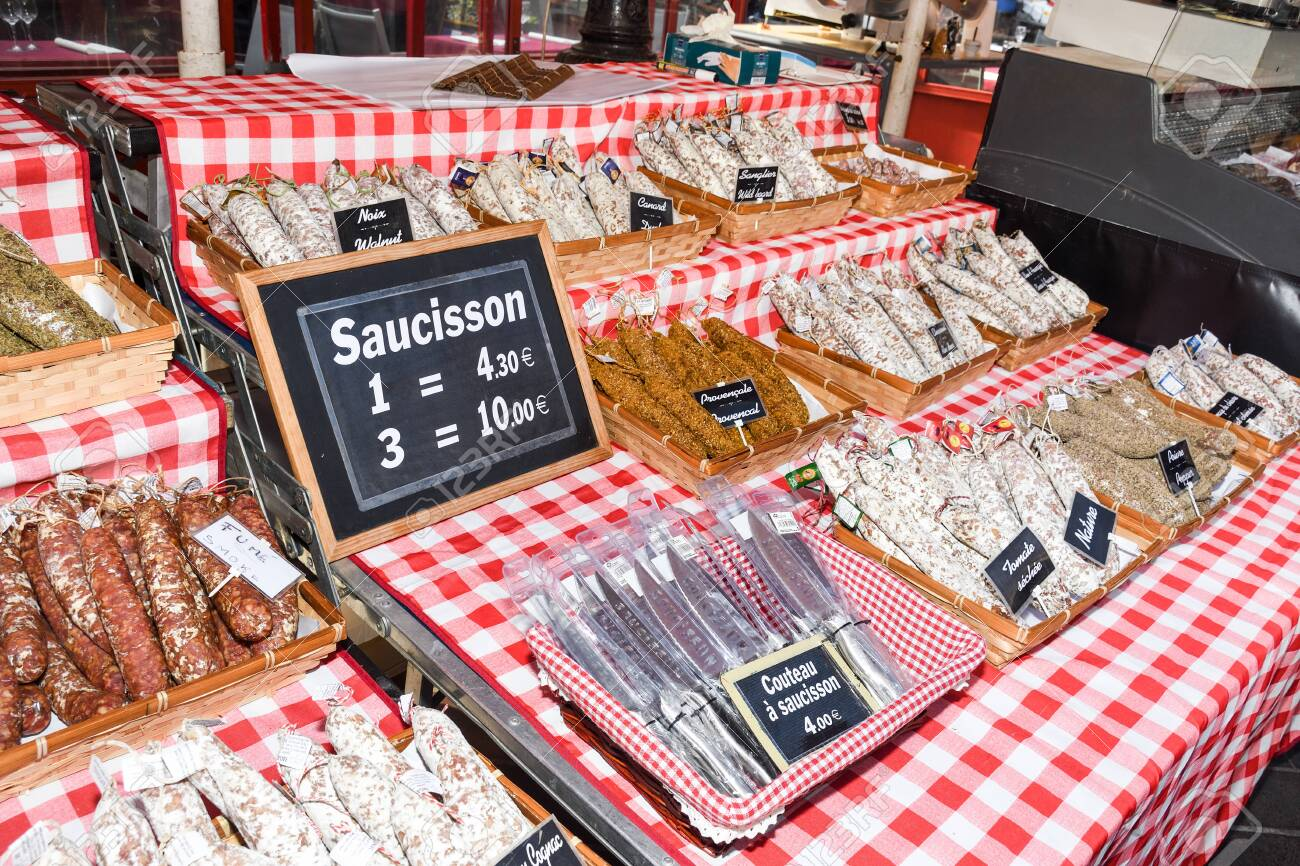 Nice, France, 24th of February 2020: Saucissons for sale meaning sausages for sale in Nice outdoor market - 146910220