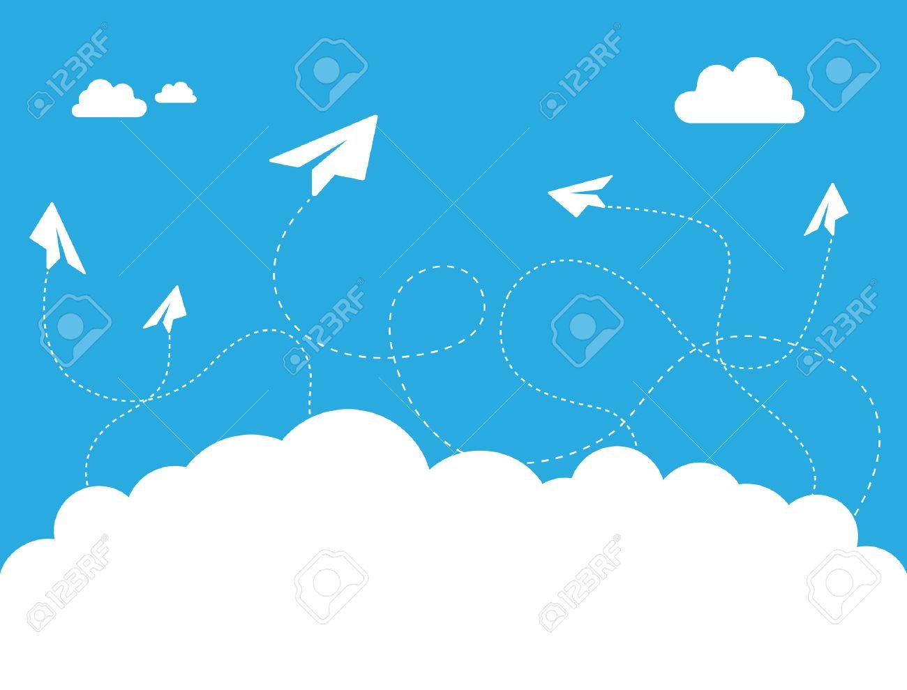 青空デザイン イラストを紙飛行機雲のイラスト素材ベクタ Image