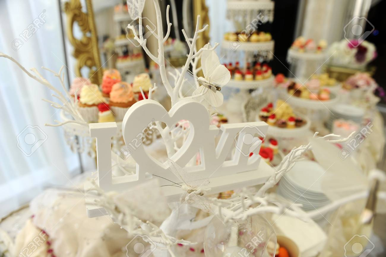Wedding Candy Bar And LOVE Inscription Stock Photo, Picture And ...