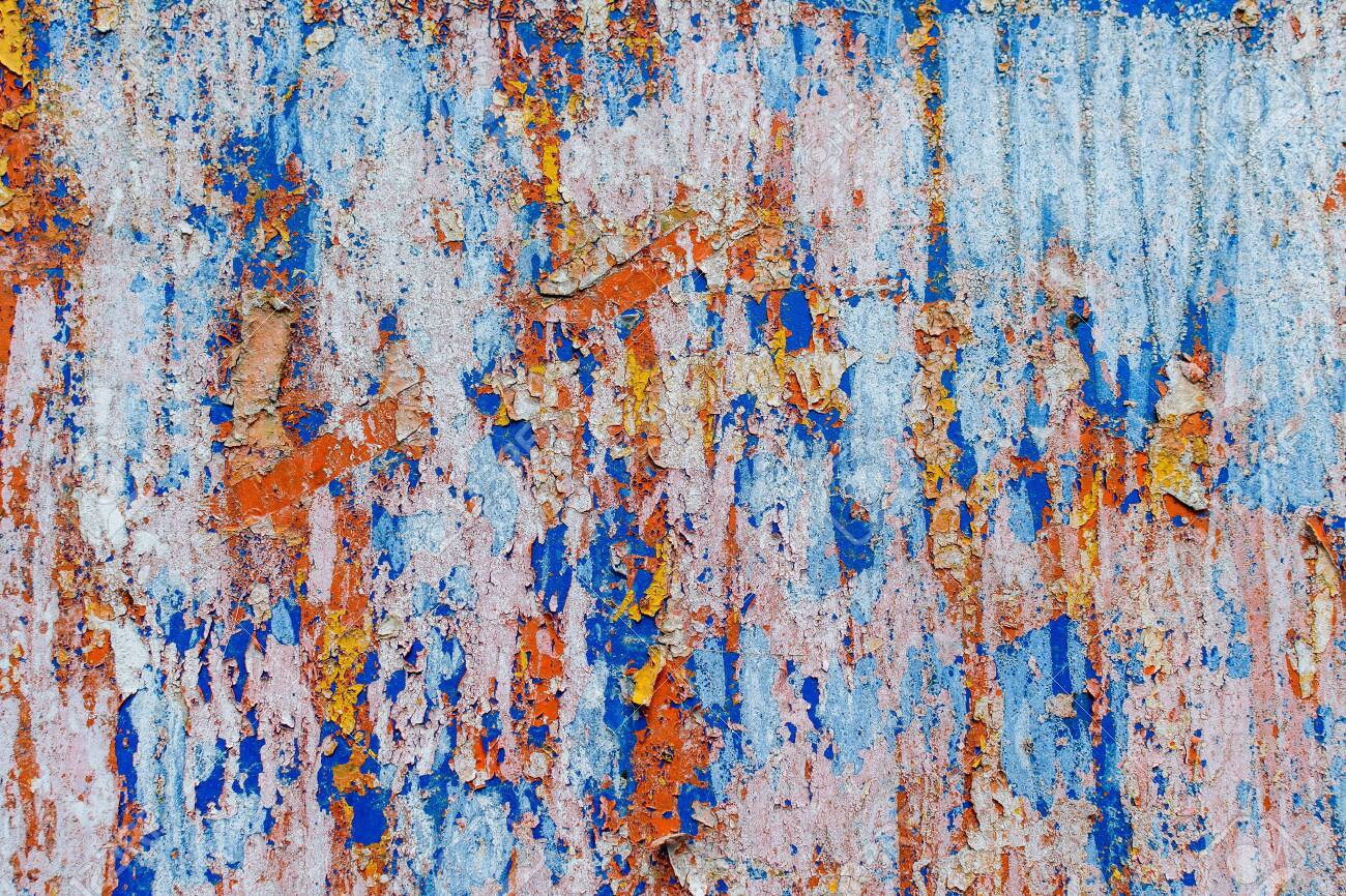 Minimalist colourful textured background of old and rusted whit, blue, brown and orange paing on metallic surface, in direct sun light in an urban environment - 150602815