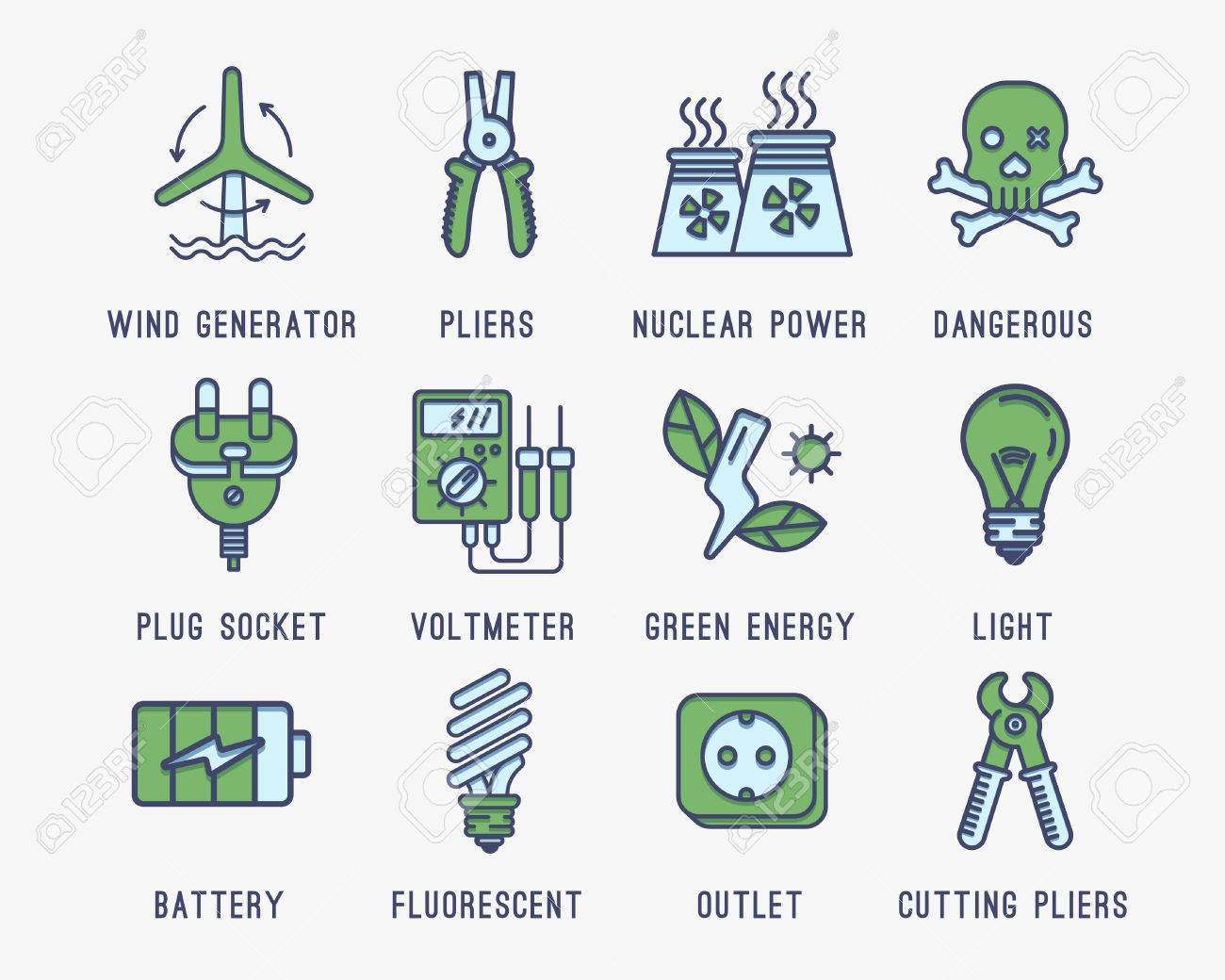 Set Of Icons On The Theme Of Electricity.Wind Generator, Battery ...