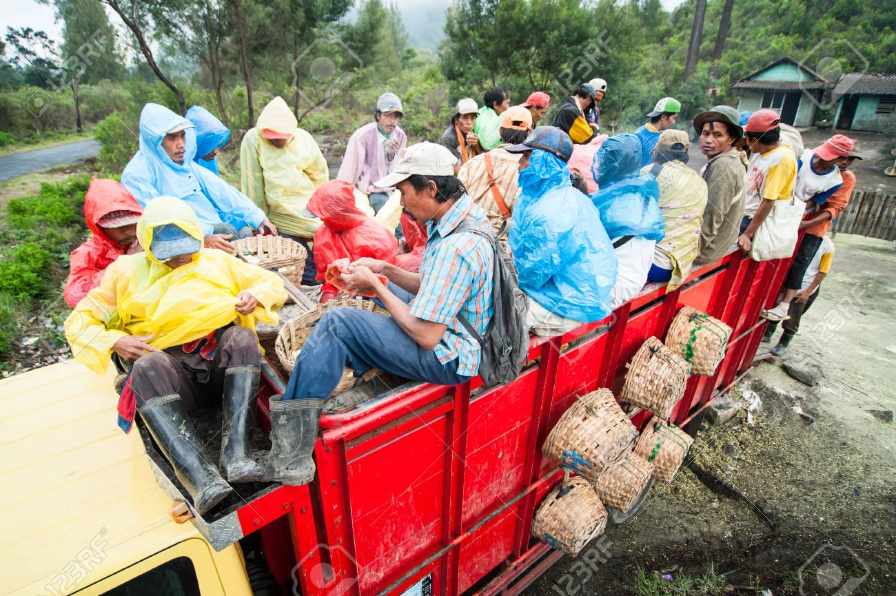Workers at Ijen crater go home together in a truck after work Standard-Bild - 43483528