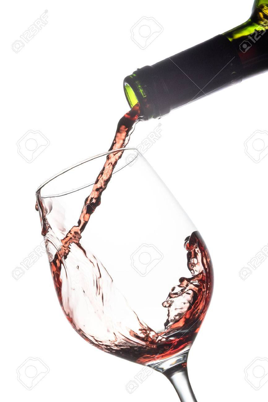 Pouring red wine into a wine glass Standard-Bild - 41174337